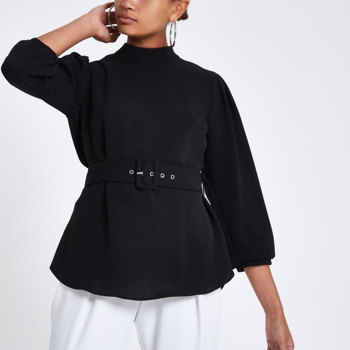 Black loose fit cuffed hem belted top