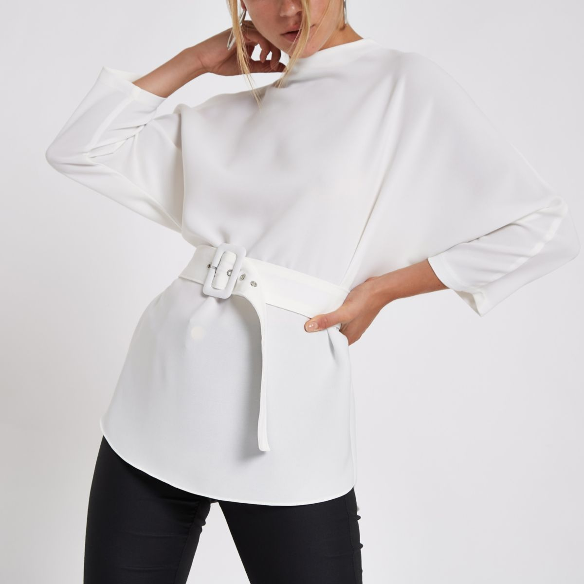 White loose fit belted top