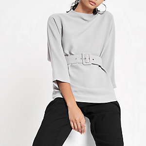 Grey loose fit cuffed hem belted top