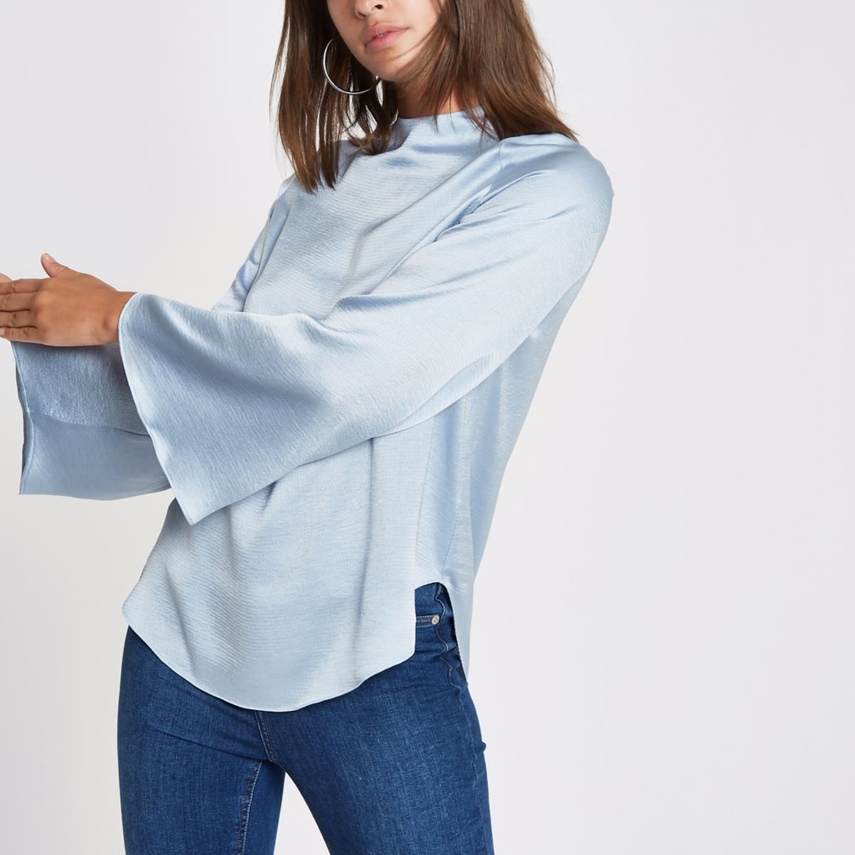 Blue high neck wide sleeve top