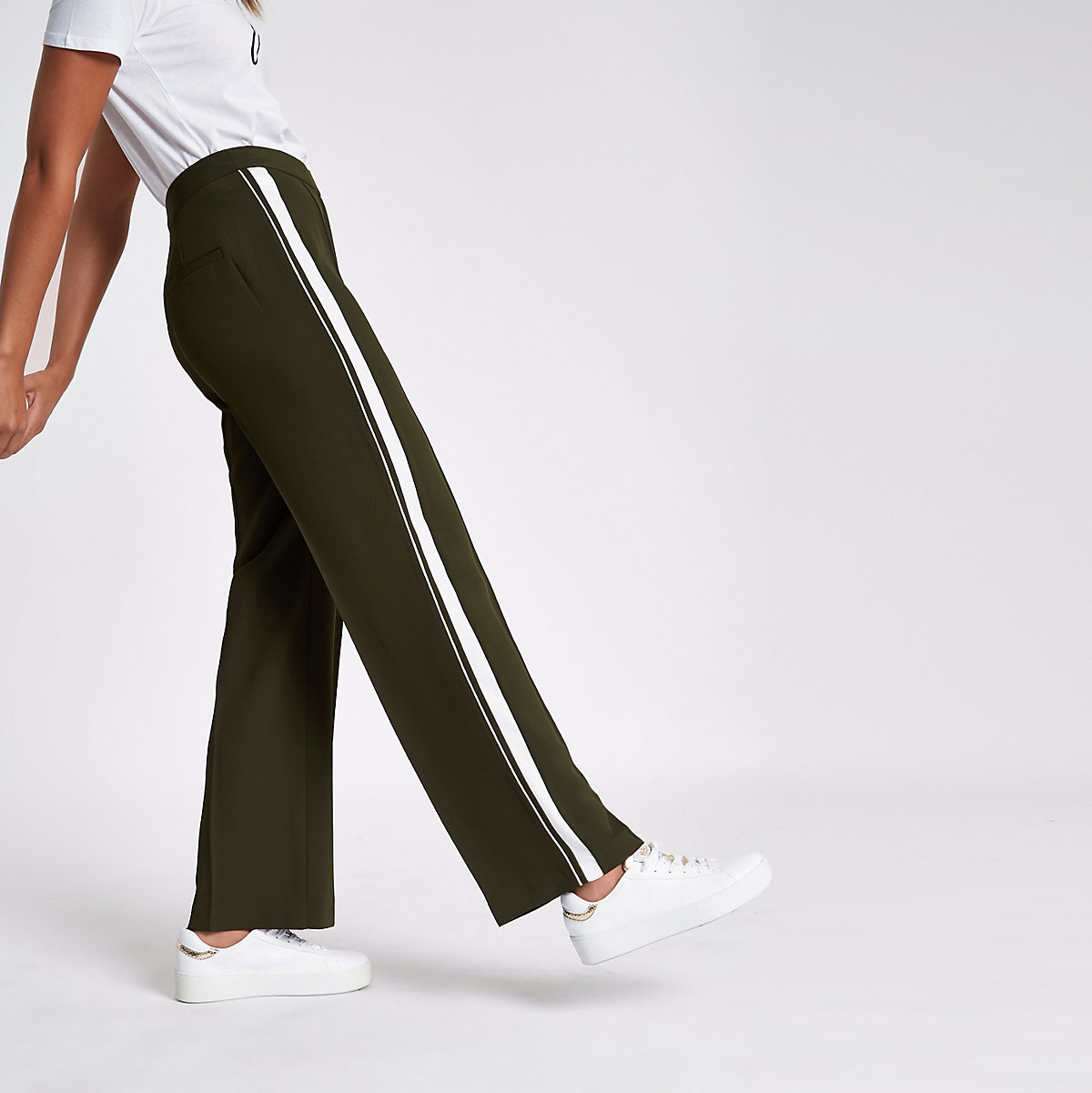 Khaki stripe side straight wide leg pants