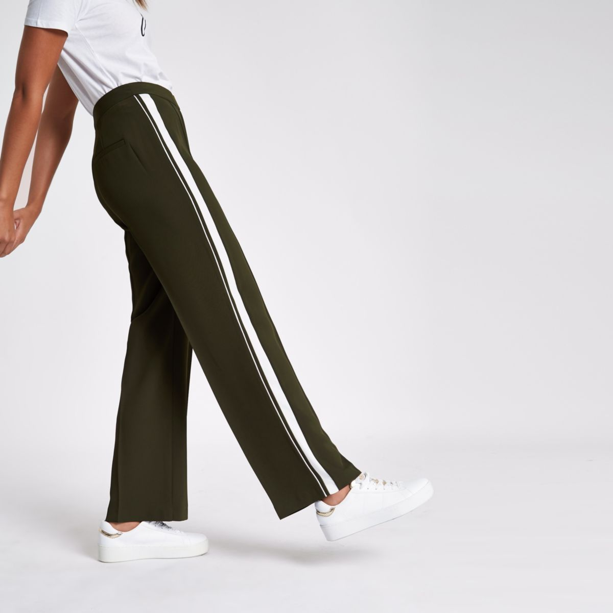 Khaki stripe side straight wide leg pants