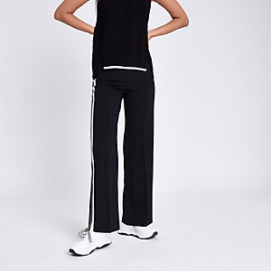 Black straight leg side stripe pants