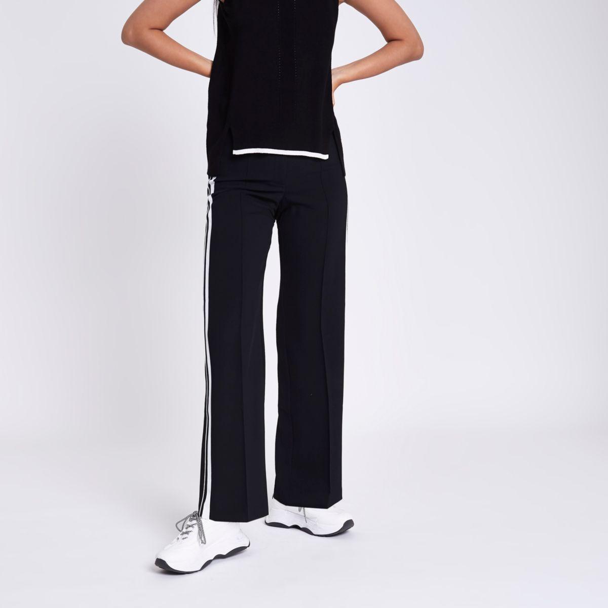 Black straight leg side stripe pants