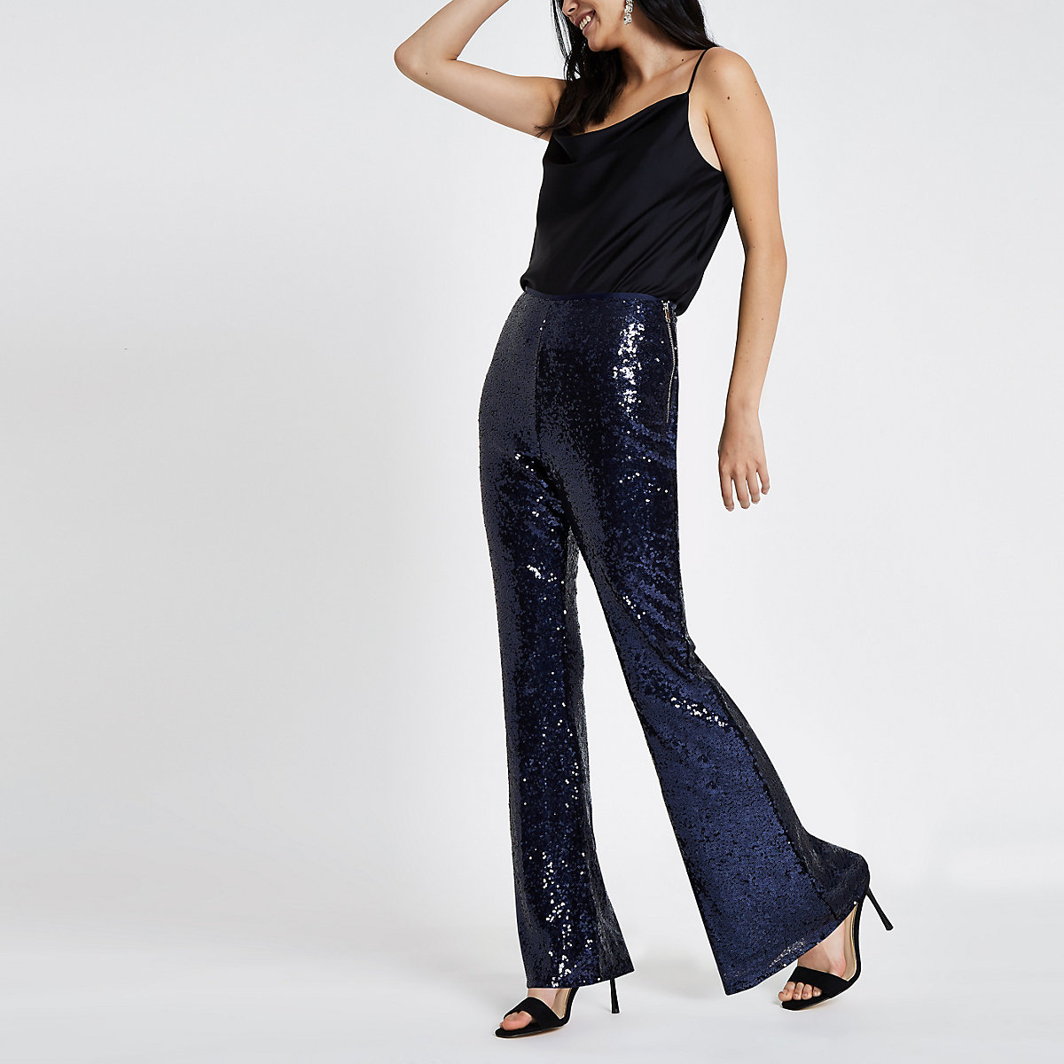 Blue sequin flare trousers