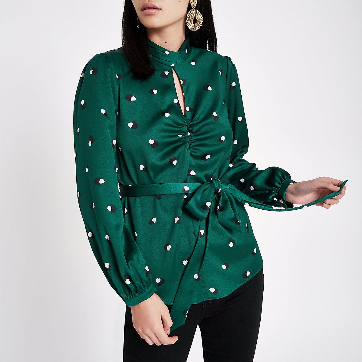 Teal green satin print tie waist top