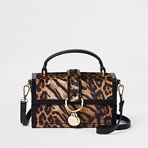 Brown leopard print boxy cross body bag