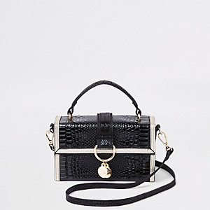 Black croc contrast trim boxy cross body bag