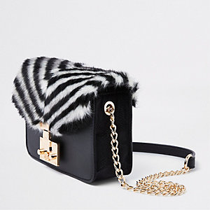 Black faux fur stripe cross body bag