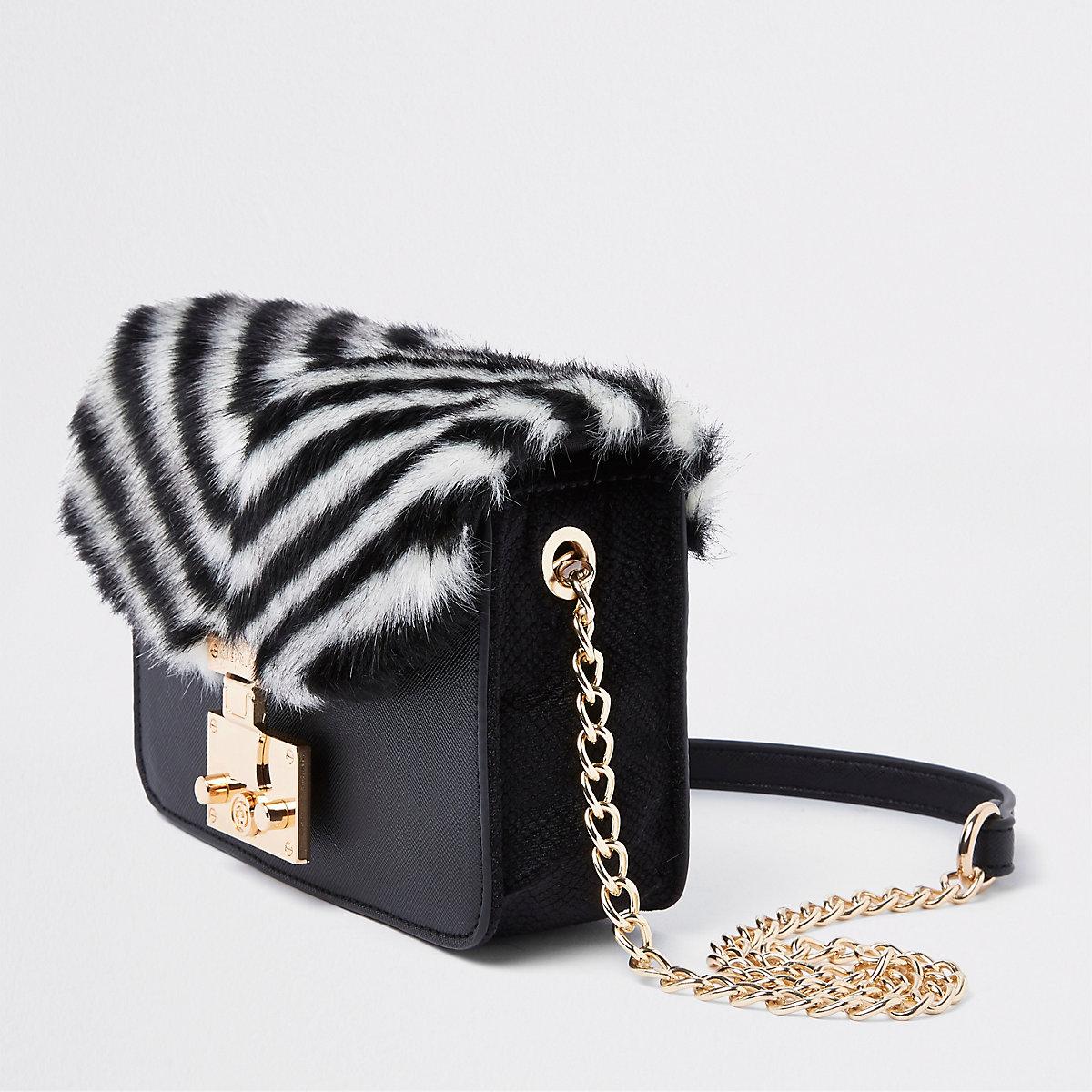 Black faux fur stripe cross body bag