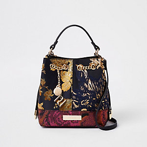 Black jacquard contrast bucket bag