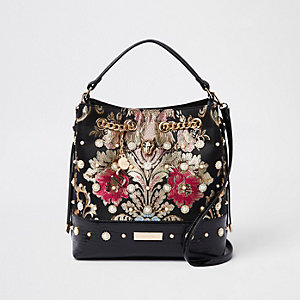 Black jacquard embellished bucket bag