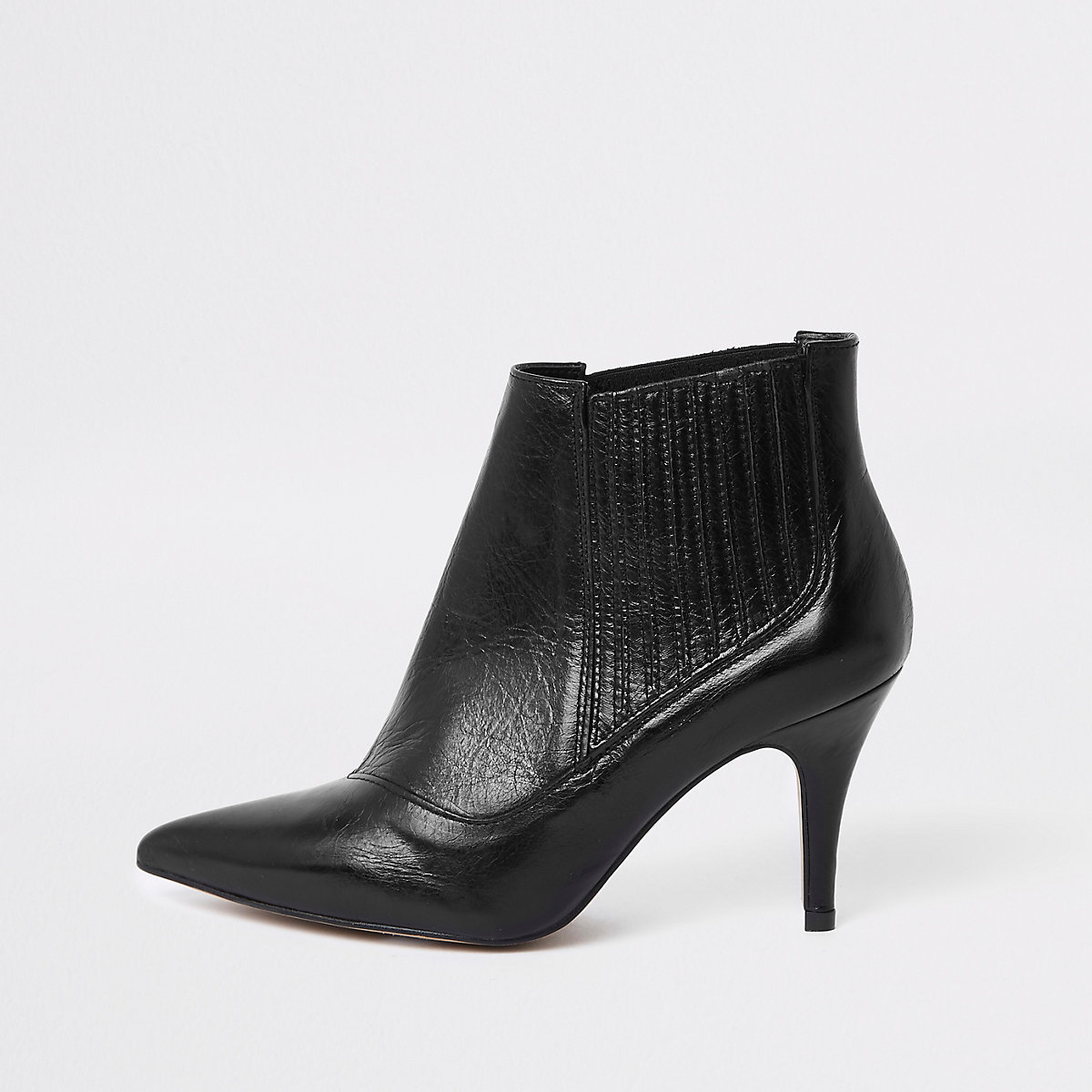 Black leather pointed toe ankle boots