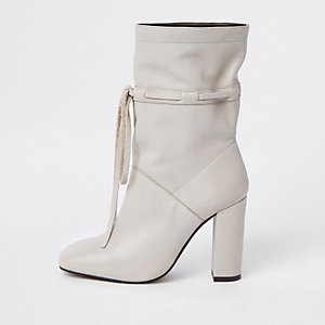 Cream leather tie block heel slouch boots