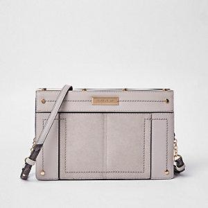 Light grey small metal boxy cross body bag