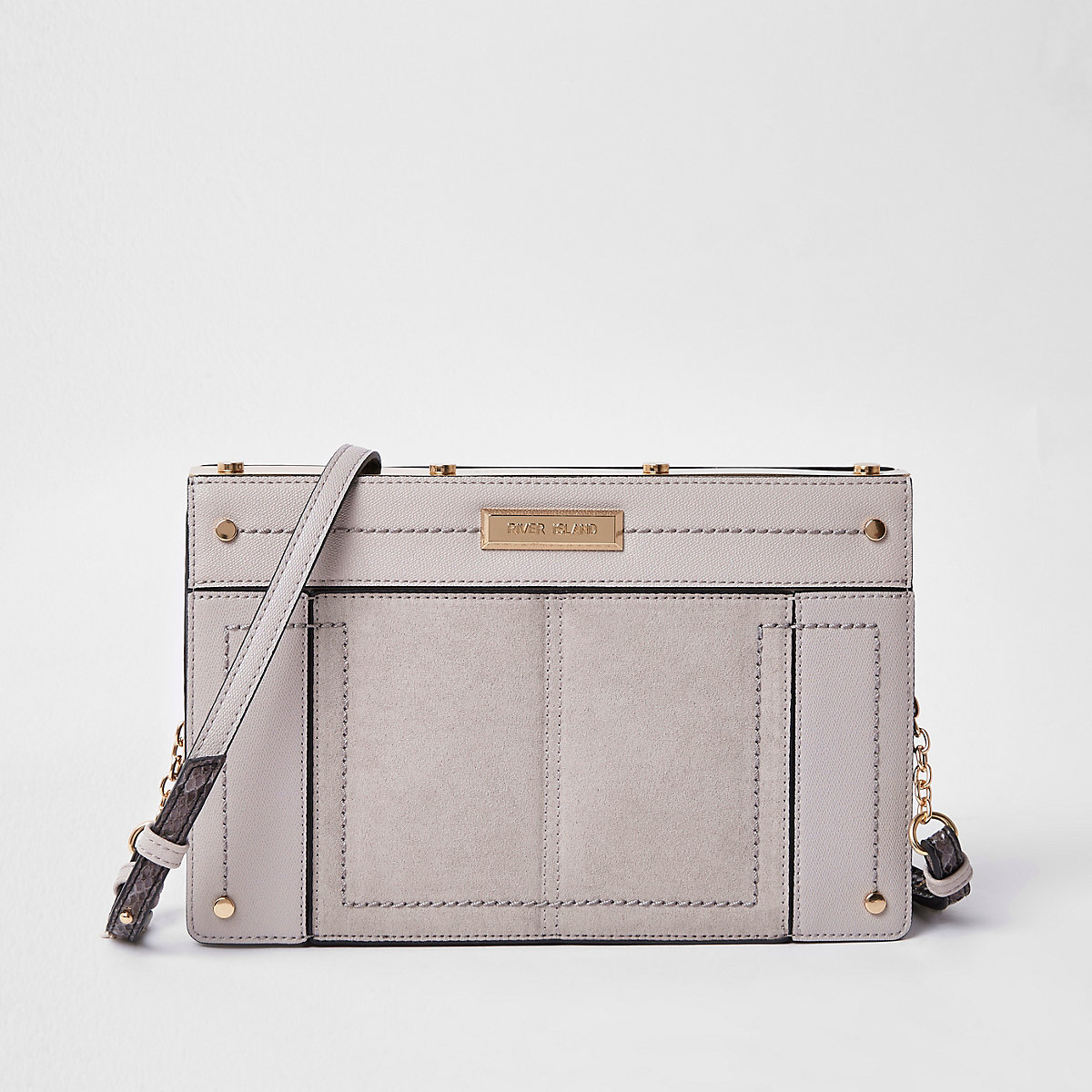 Light grey small metal boxy cross body bag
