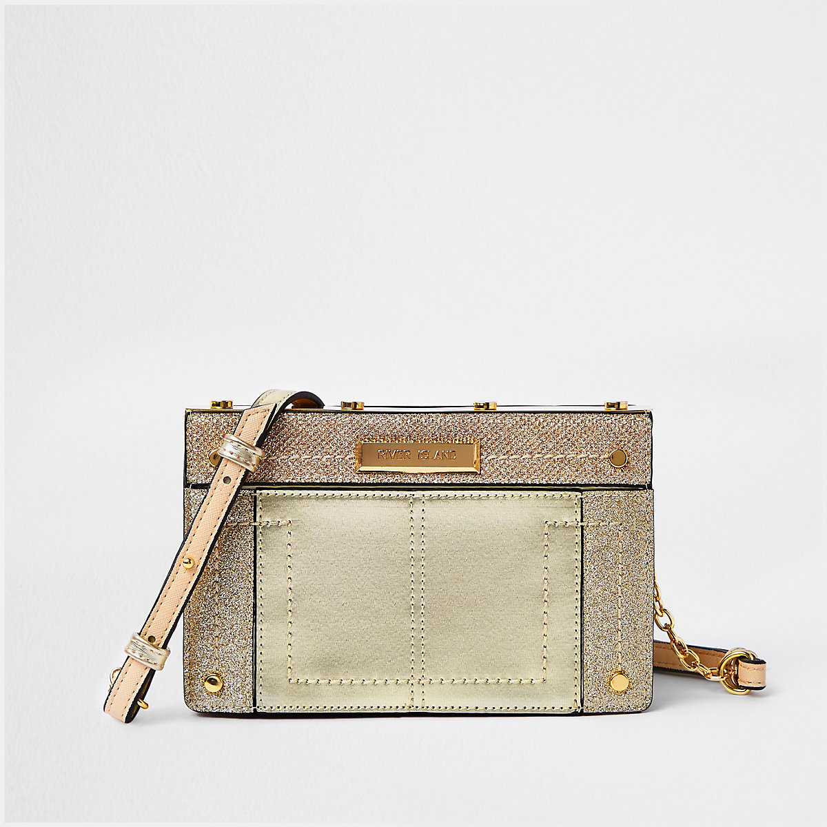 Gold metal small boxy cross body bag