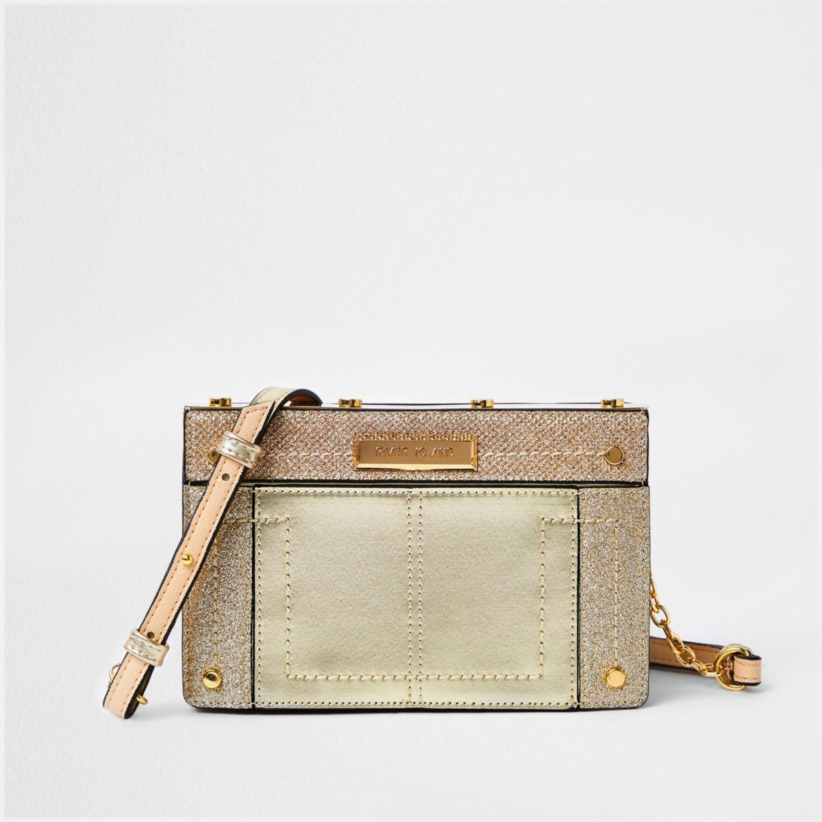 Gold metal small boxy cross body bag