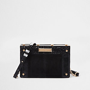 Black small metal boxy cross body bag
