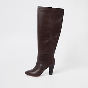 Brown knee high block heel boots
