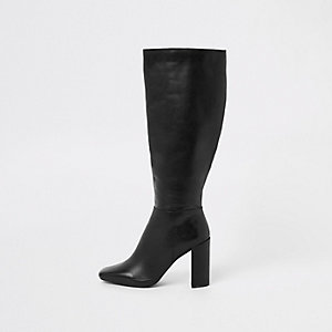 Black leather square toe knee high boots