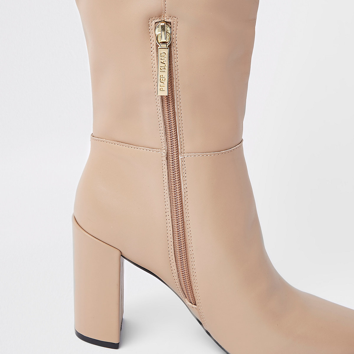 Crème leren kniehoge laarzen met blokhak ...