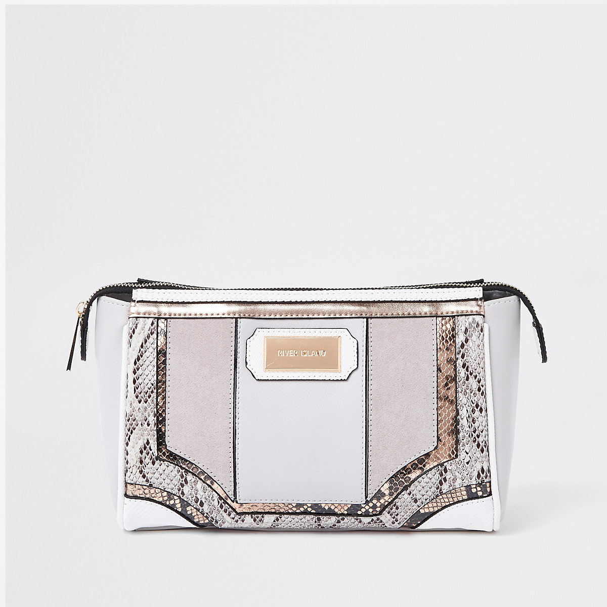 Grey snake skin panel cutabout makeup bag