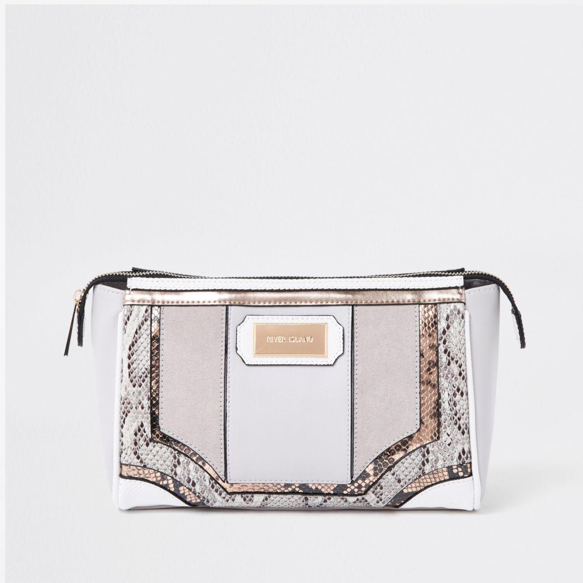 Grey snake skin panel cutabout makeup bag
