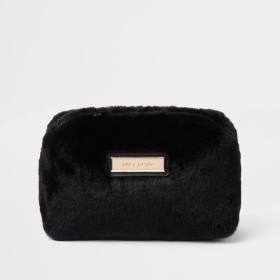 Black Faux Fur Make Up Bag by River Island