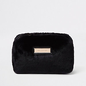 Black faux fur make up bag