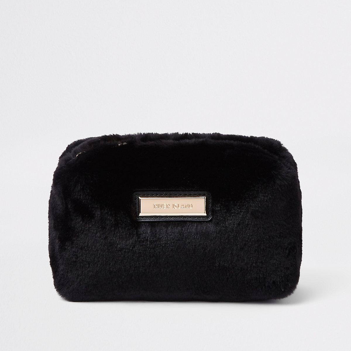 Black faux fur make up bag