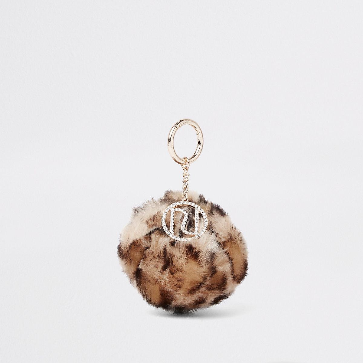 Beige leopard faux fur pom pom keyring