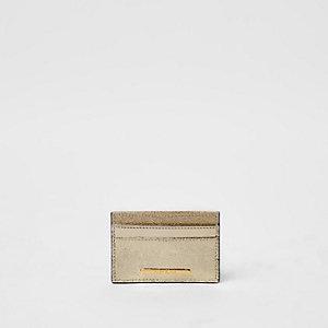 Goudkleurige metallic creditcardhouder met glitterpaneel