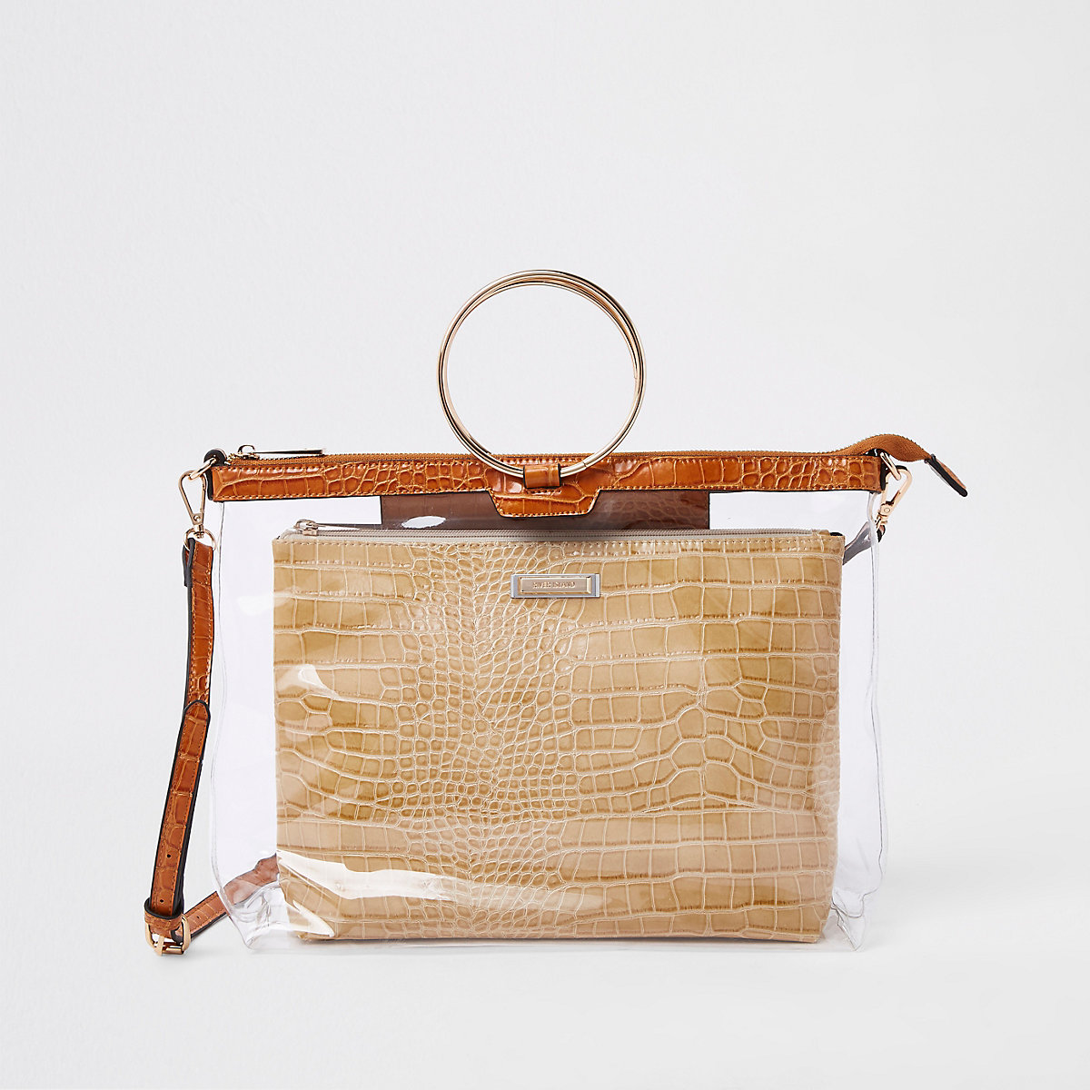 Gold tone ring handle brown perspex bag