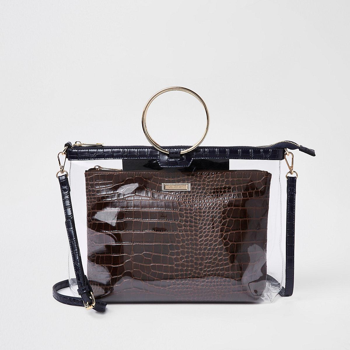 Gold tone ring handle brown perspex bag