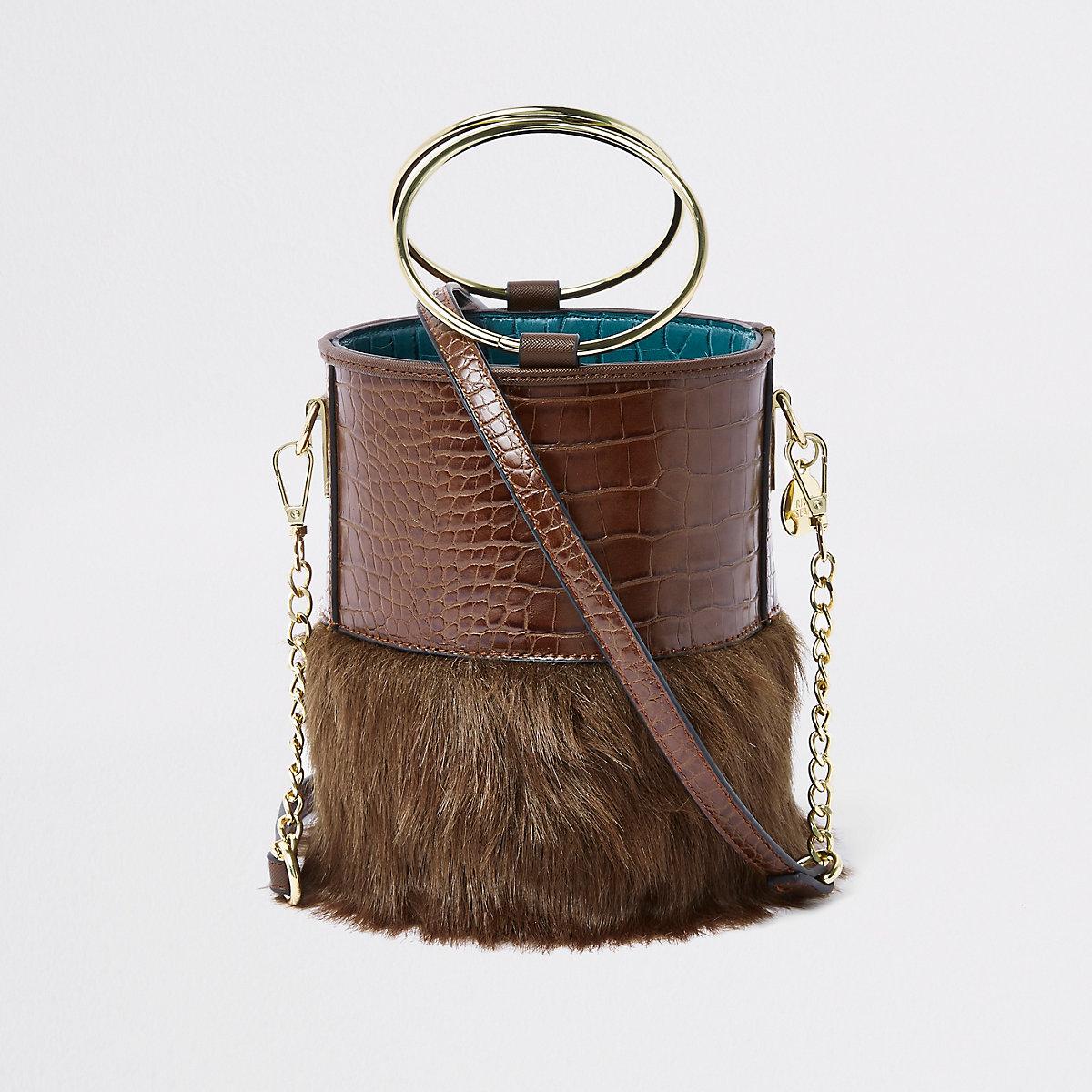 Brown faux fur croc round cross body bag - RI Limited Edition - women 1a036a49d9449