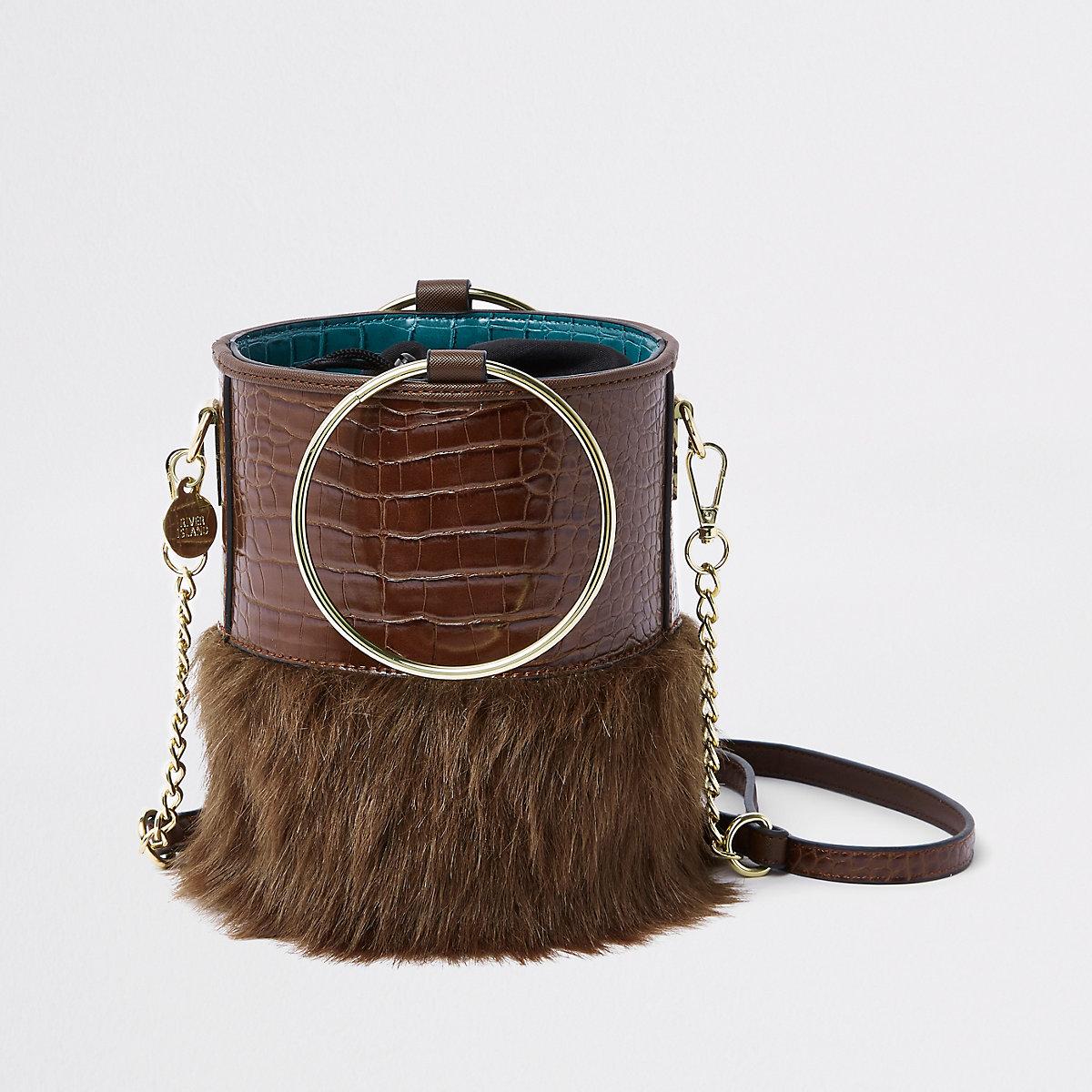 Brown faux fur croc round cross body bag