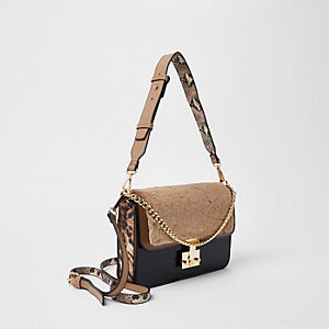 Beige fleece lock front cross body bag
