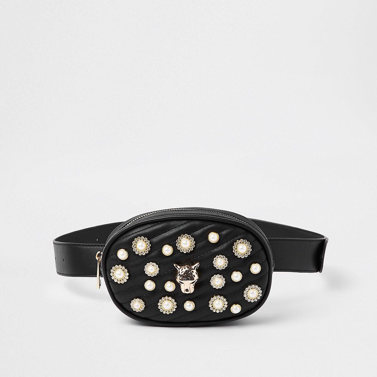 Black quilted embellished belt bum bag