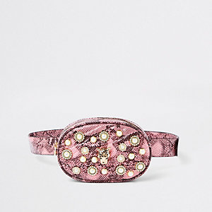 Pink snake print embellished belt bum bag
