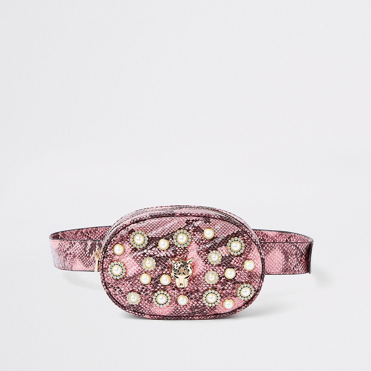 Pink snake print embellished belt bum bag