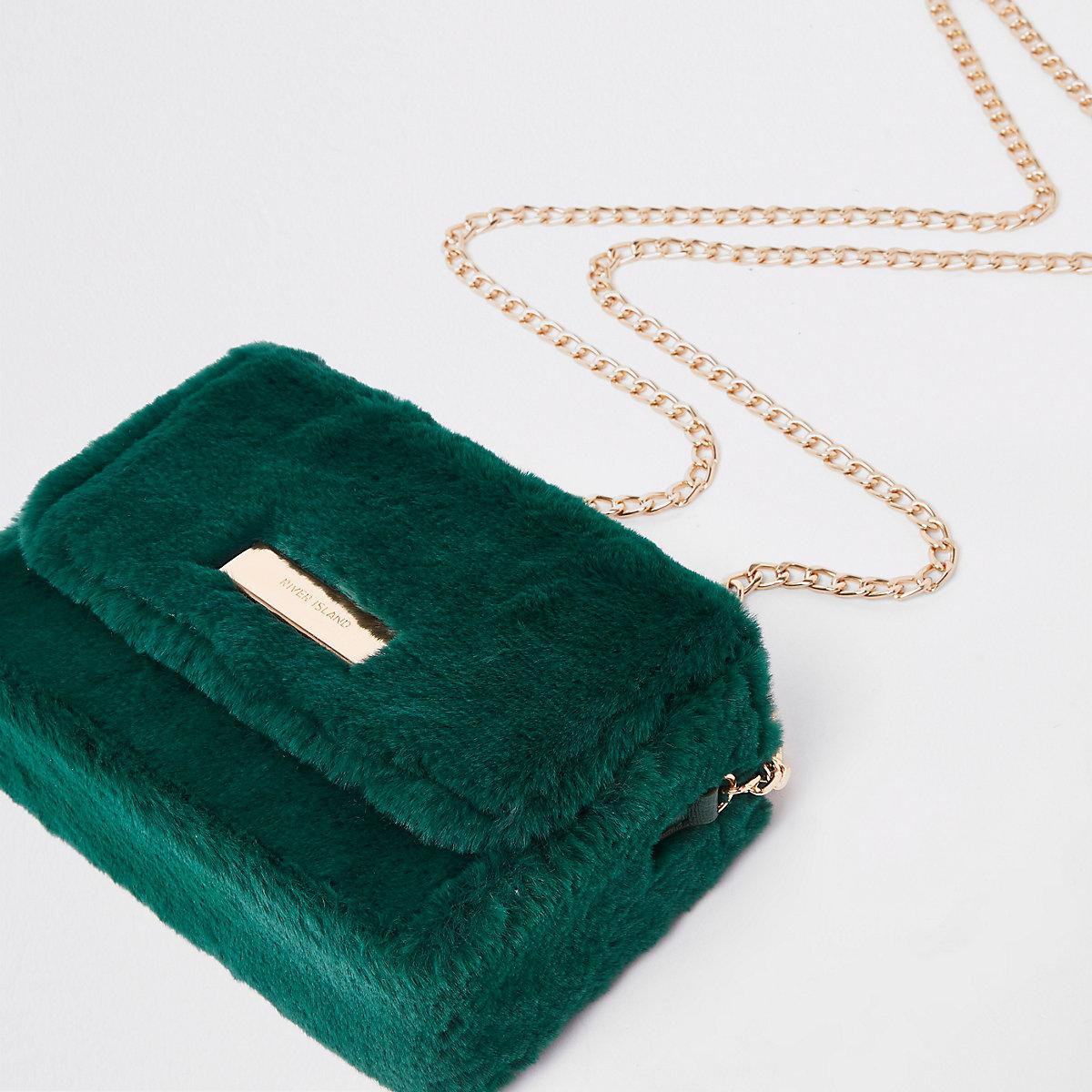 Dark green faux fur mini boxy cross body bag