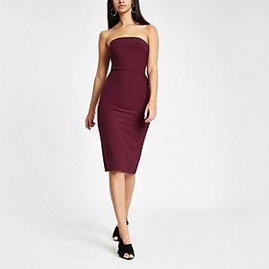 Bandeau-Bodycon-Kleid mit Schleife hinten in dunklem Lila