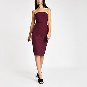 Dark purple bow back bandeau bodycon dress