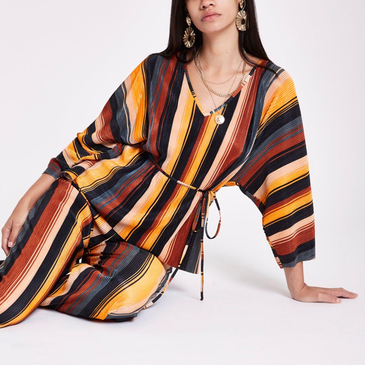 Orange stripe plisse V neck belted top