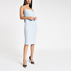 Blue bow bandeu bodyon dress