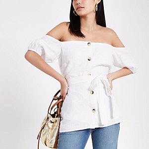 Cream button-up bardot top