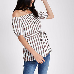 Red stripe button-up bardot top