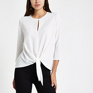 White front long sleeve top