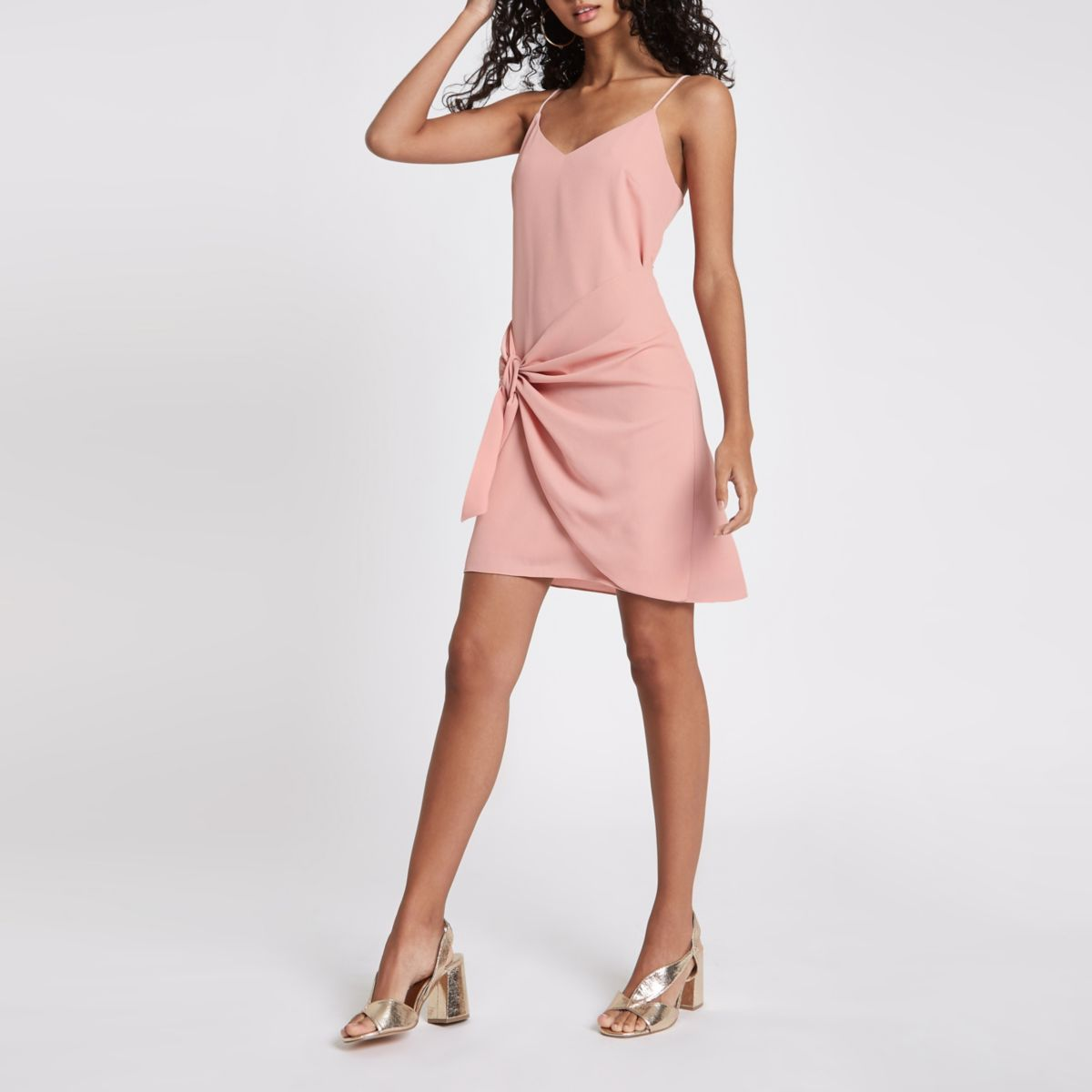 Light pink knot front slip dress